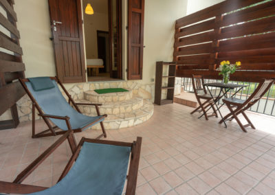 b&b bbfiore pula sardinia sardegna room 2 veranda deckchairs table 2